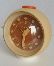 Retro Space Age Ruhla Clock Orange And Yellow Made In GDR East Germany Alarm
