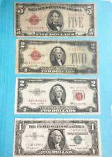 4 notes, $10.00 total, Series 1928F-$5, 1928G, 1953B-$2, 1957B-STAR   1-FREE 1c