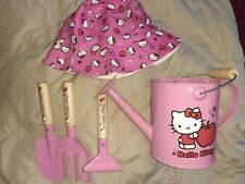 Sanrio 2014 Hello Kitty Watering Can w/ Gardening tools toddler hat Vguc