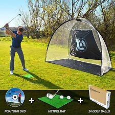 LARGE GOLF DRIVING PRACTICE NET +FREE GRASS HITTING MAT +24 GOLF BALLS 10'x7'x5'