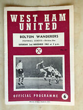 1962/63 Football League- WEST HAM UNITED v BOLTON WANDERERS - 3rd November