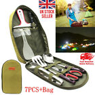 Camping Utensil Outdoor Cooking Accessories 8pc Set Travel Cookware in Bag UK