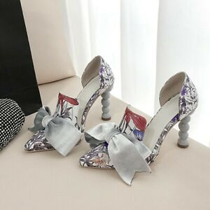 Women Pointy Toe Bowknot Block High Heels Graffiti Slip On Party Evening Shoe dy