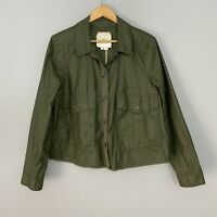ANTHROPOLOGIE Large L $148 Hei Hei Waxed Utility Jacket Top in Olive