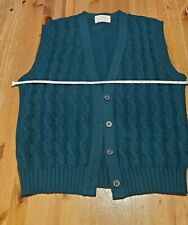 Vintage Pendleton Wool Sweater Vest Cardigan Womens M Teal Cable Knit Button