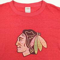 Vtg 90s Chicago Blackhawks Hockey T-Shirt XL Faded Thin Distressed Long Sleeve
