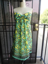 GORGEOUS *MILLY of NY* Strapless Yellow Green Silk Chiffon Bustier Dress 10
