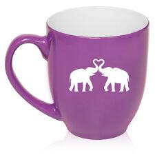 16 oz Bistro Mug Ceramic Coffee Glass Tea Cup Elephants Making Heart