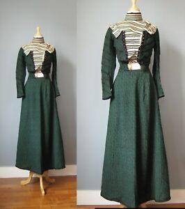 Antique Two Piece Dress 1890s 1900s Green Black Bodice & full skirt