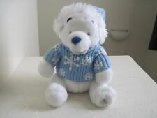 "Disney Store Winnie The Pooh POOH WHITE w/ BLUE SWEATER 12"" Plush Stuffed Animal"
