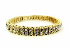 Mens Silver BlackYellow Finish 2 Row Diamond Simulate Crystal Bracelet 8.75""