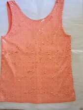NWT J.Crew HEATHERED SEQUIN TANK Neon Peach XS $128