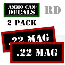 22 MAG Ammo Decal Sticker bullet ARMY Gun Can Box safety Hunting 2 pack RD