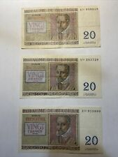 3 billet de 20 francs belge belgique 03-04-1956