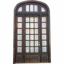Antique French Oak, Beveled Glass Single Door Entry, Arched Transom & Sidelights