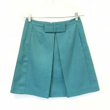Boden Size 4 Grace Teal Front Pleat Bow Skirt Career A-Line & Full