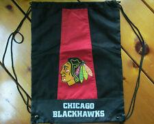 "Chicago Blackhawks NHL Drawstring Bag Tote Backpack Hockey Black 18"" X 13"""