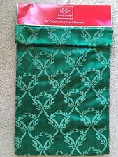 """Lenox Green American by design fabric table runner 14"""" by 90"""" new"""