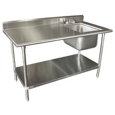 """Advance Tabco Kms-11B-306R 72"""" Work Table With Right Sink"""
