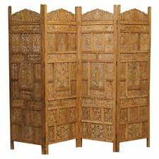HAND CARVED VINTAGE SOLID TEAK FOLDING SCREEN ROOM DIVIDER BRASS INLAID DETAIL