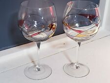 "Rare Party Lite Pair Calypso Mosaic 9"" Water Balloon Glass Stem Wine Goblets"