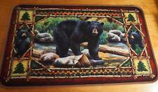 Black Bear & Cubs Kitchen Rug Door Mat Cabin Lodge Home Decor Living Room Area