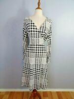 NWT Richard Allen H&M Womens Size L Half Wrap Checked Maxi Dress Long Sleeves