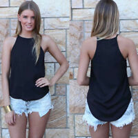 Women Loose Back Slit Summer Sleeveless Vest Blouse Chiffon Shirts Fashion CHK