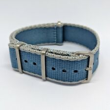 20mm Premium Contrast Colour Edged Seatbelt NATO Watch Strap - Light Blue & Grey