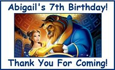 "(18)Personalized Beauty and The Beast Party Stickers,3 1/4"",Birthday Labels tags"