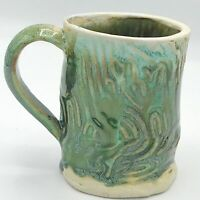Handcrafted Green Swirls Pottery Mug