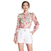 Spring Women's Silk Print Floral Long Sleeve Blouse Casual Tops Vest Two-Piece