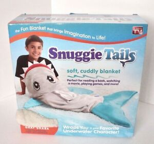 AS SEEN ON TV KIDS SNUGGIE TAILS SUPER SOFT BLANKET GRAY SHARK BRAND NEW IN BOX