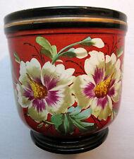Cache-pot XIXème porcelaine de Paris peint d'Hibiscus sur fond rouge