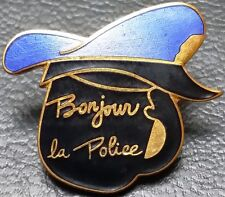 "Vintage 1970s Quebec Canada Police Black Lapel Pin, ""Bonjour la Police"""