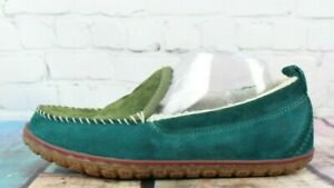 LL BEAN Women's Green/Blue Suede Lined Mountain Moccasin Slippers Size 8
