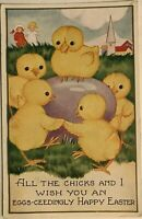 ~Cute Yellow Ducks Dancing Around Egg~ Antique  Easter Holiday Postcard-k670