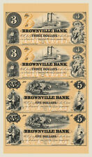Omaha City, Nebraska- The Brownville Bank $3-$3-$5-$5 Uncut Sheet COPY