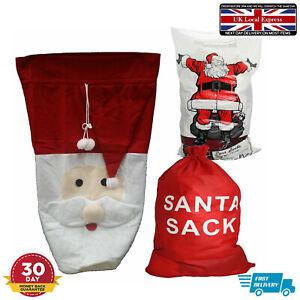 Santa Xmas Christmas Sack Stocking Present Gift Drawstring Cotton Unbleached Bag