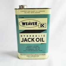 Vintage Weaver Hydraulic Jack Oil Quart Can Tin Gas Station Garage Man Cave