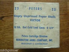 Peters Cartridge Company 25 Empty Unprimed Victor Paper Shells Nib