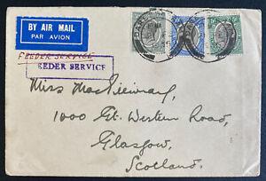 1934 Dar Es Salaam Tanganyika Airmail Cover To Glasglow Feeder Service