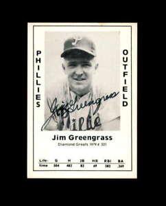 Jim Greengrass Signed 1979 Diamond Greats Philadelphia Phillies Autograph
