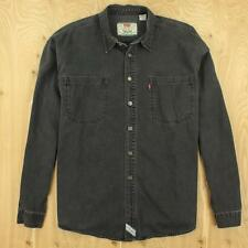 LEVI'S denim work shirt LARGE faded black metal buttons faded distressed