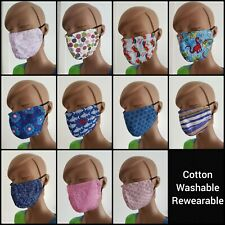 Handmade Elasticated Cotton Face Covering Fashion Mask Multiple Designs Comfort