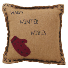 Primitive Country Rustic Warm Wishes Felt Christmas Pillow W/Red Mitten Applique