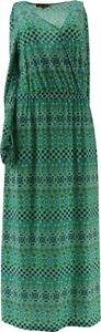 AmberNoon II Dr Erum Ilyas SunStretch UPF 50 Maxi Dress Lime Cmbo 2X # A379434