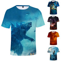 Godzilla King Of The Monsters Dragon T-Shirt Polyester Crew Neck Short Sleeve