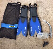 Body Glove Reliance Dive Scuba Snorkel Mask Tempered Lens & U.S. Divers Fins