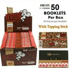 Sealed Box 50 Packs BROS Red King Size Extra Rolling Papers Tapping Stick 110x52
